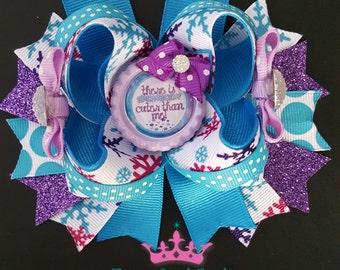 Winter hair bow, frozen hair bow, snow hair bow, snowflake hair bow, holiday  hair bow, christmas hair bow, blue hair bow