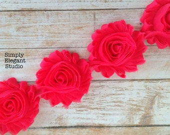 "Hot Pink Shabby Chic Flower, 2.5"" Chiffon Flowers, Headband Flower Flower by the Yard"