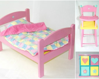 American Girl Doll Furniture Set, American Girl Doll Bed, Highchair,  Dresser/Doll