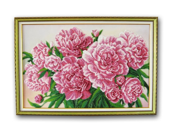 embroidery painting flowers peonies wall art style czech beads beadwork gift for mother gift for newlyweds room decor  beaded art decoration