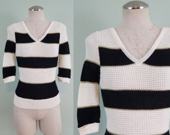 1970s Knit Sweater / Black and Cream Stripes with Gold Metallic Edging / Deep V Neck and Back / Modern Size Extra Small XS or XXS