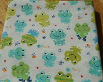 Frog Receiving Blanket, Cute Frog Blanket, Large Blanket, Swaddle Blanket, Flannel Blanket, Green and Blue Frogs, Baby Boy Blanket, Ribbit