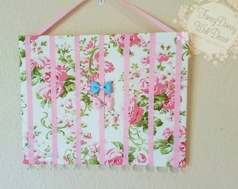 Pink Flowers Hair Bow Holder & Headband Organizer /Padded Hair Bow Organizer with Hooks for Headbands/Head Band organizer
