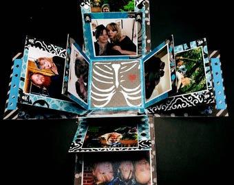 Photo Explosion Box; Unique Photo Album; Mini Gift Photo Album; Wedding Party Gift; Maid Of Honor Thank You; Wedding Album; Black White Blue