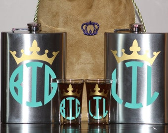 Big/Little Stainless Steel Flask & Shotglass Set - Sorority Flask - 12. Oz Stainless Steek Flask Set - Shotglass Set