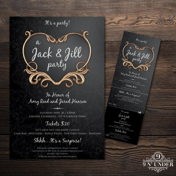 Vintage jack and jill pre wedding party ticket and poster card for Jack and jill tickets templates