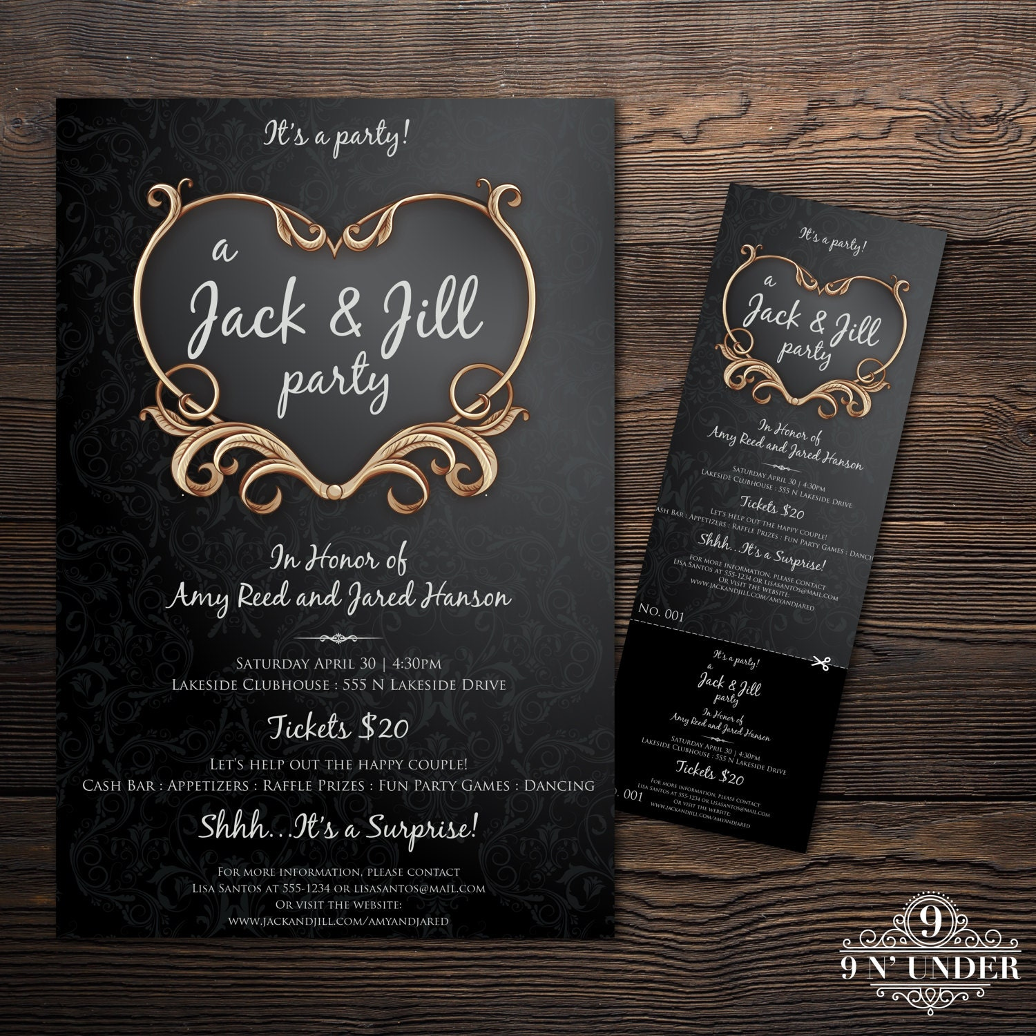 Vintage jack and jill pre wedding party ticket and poster card for Jack and jill ticket templates