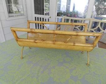Hollywood Regency Metal Bamboo Magazine Rack