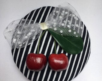 Fascinator black and white stripes with white tulle bow with white dots and cherries