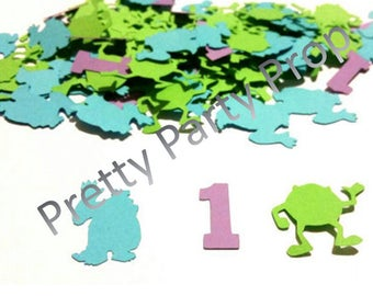 Monster's Inc confetti,  Mikey and sulley party confetti with number of your choice 200 pieces
