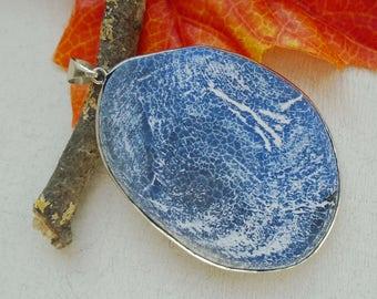 Dragon skin agate, agate, blue, white, charm, pendant, silver plated