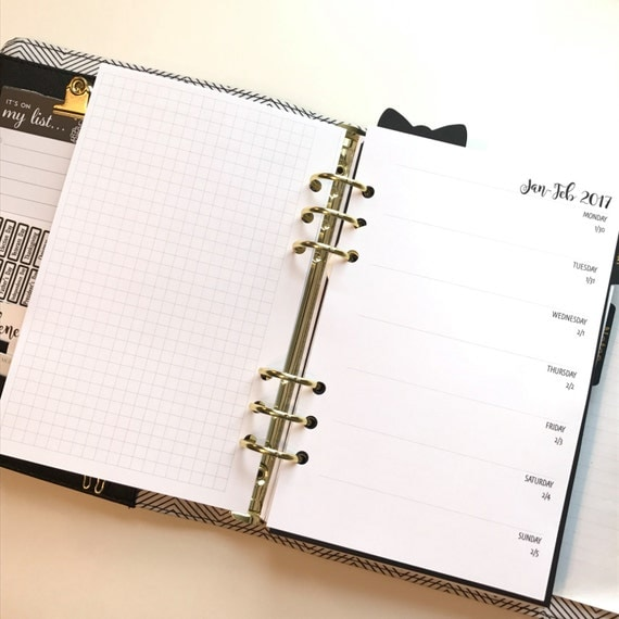 Week On One Page With Grid Printed Planner Inserts (WO1P) | Half Letter Size for A5 Planner | Bold