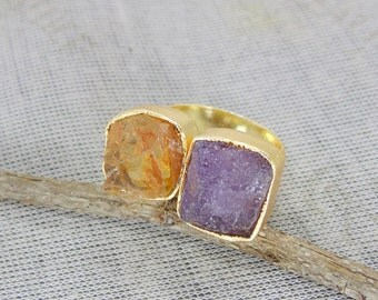 Purple Amethyst Ring - Adjustable Ring - Raw Citrine Ring - Dual Gemstone Ring - Birthstone Ring - Rough Stone Ring - Gift For Her
