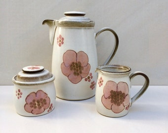 23 Piece Set of Denby Gypsy Floral Collection.  Large Cofee Pot, Creamer, Sugar Bowl with 10 cups and 10 saucers