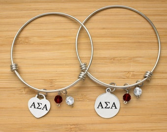 Alpha Sigma Alpha Bracelet | Stainless Steel Adjustable Bangle | Sorority Bracelets | Three Styles | Officially Licensed