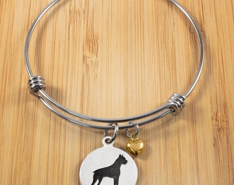 Boxer Dog Bracelet | Stainless Steel Adjustable Bangles | Boxer Dog Jewelry | Dog Bracelets