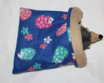 Pink teal and fuchsia on royal blue Hedgehog pattern pouch