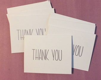 Thank you cards, Set of 10 with envelopes, Metallic ink