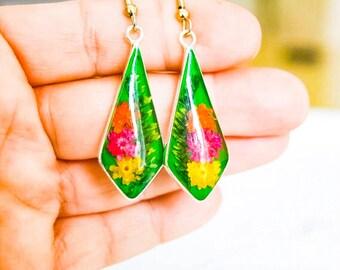 Resin Flower Earring;Real Flower Earrings;Resin Jewelry;Dry Flower Earrings;Flower Earrings;Silver Plated;Real Flower Jewelry;Earrings;Gift