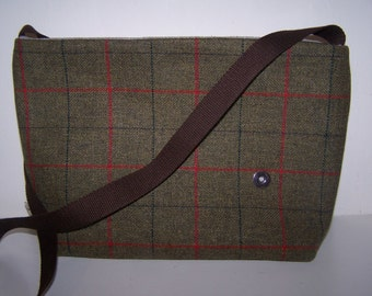 Green and red tweed bag.  Green tartan, satchel, gift for her, birthday gift, gift for him, Fathers day gift, anniversary gift