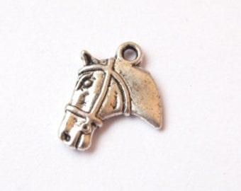 Silver horse head charm 21x18mm (2 pieces)