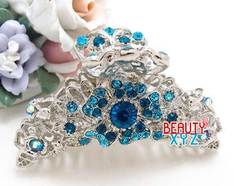 Crystal Metal Hair Claws Clips Pins flowers design Hair Accessories blue color