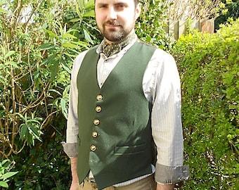 Green Wool Bilbo Baggins Waistcoat, Beige Striped Collarless Shirt.