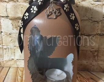 Yorkie Painted  Mason Jar Tea Light Candle Holder, Yorkie, dog, mason jar, painted mason jar, tea light candle, dog, puppy, lantern, gift
