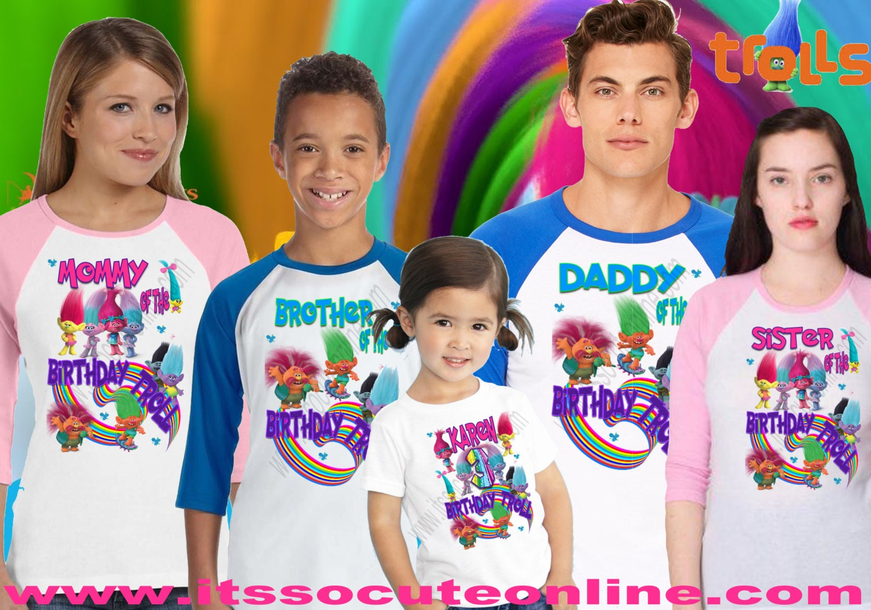 Design your own t-shirt birthday party - Trolls Birthday Shirt Trolls Family Birthday Shirt Set Trolls Custom Shirt Trolls Birthday Party Trolls Tshirt Trolls Personalized Shirt