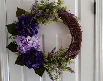 Spring Wreath. Summer Wreath.Front Door Wreath.Casual Wreath. Spring Hydrangeas.Purple Lavender Wreath.Everyday Wreath.Mother's Day Gift