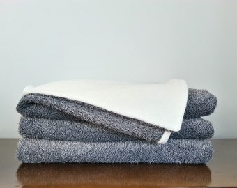 Grey and White Cozy Throw Blanket, Chenille and Fleece