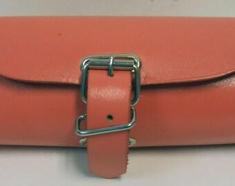 Handmade Leather Bicycle Bike Handlebar Seat Bag With Buckles Pink NEW