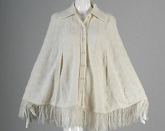 OSFM 1970s Poncho 70s Hippie Boho Cardigan Cape Knit Sweater Cape Cardigan Poncho Fold Over Collar Button Up Fringe Vintage White