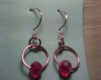Ruby Red Swarovski Copper Earrings