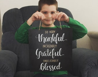Thankful and Blessed Chalkboard Gift Decor