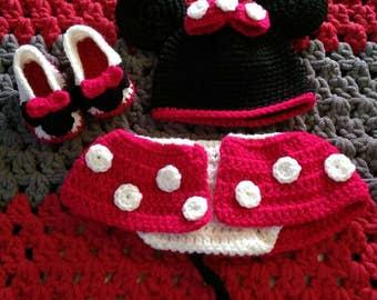 Handmade , crochet newborn Minnie Mouse set .