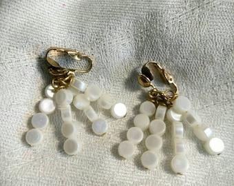 Vintage White Plastic Beaded Gold Tone Clip On Earrings