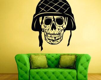 rvz2120 Wall Decal Vinyl Decal Sticker Decals Skull Bones War Helmet