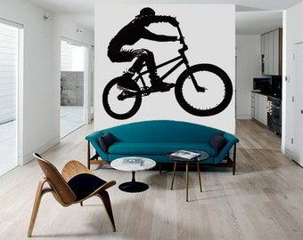 rvz2764 Wall Decal Vinyl Decal Sticker Decals Bike Cycle BMX Bicycle Silhouette Jump