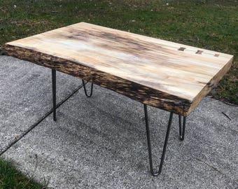 Live Edge Wood Slab Coffee Table w/ Hairpin legs