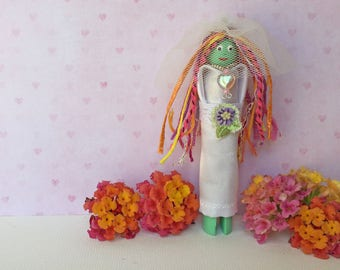 Bride Worry Doll, Whimsical Handmade Gift for Bride to Be, Folk Art OOAK Clothespin Doll