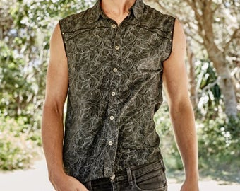 Men's vest sleeveless shirt burning man shirt steampunk men's vest Psychedelic men's festival clothing