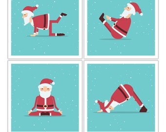 Fun Yoga Santa Holiday Posters for your Home or Office