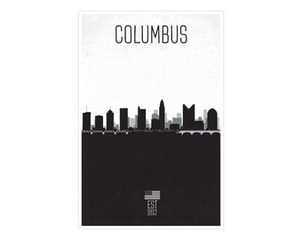 Columbus City Skyline Distressed Poster Print