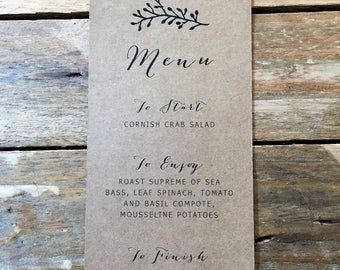 Rustic Table Name / Menu Printable Wedding Stationery, Printable Digital PDF