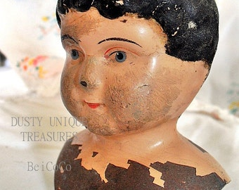 Antique Doll head, Minerva breast plate head from the 19th century