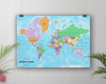 Pin Board Map,  Push Pin World Map, Places We've Been, Personalised Travel Map,Countries Cities Visited, Bucket list, Going Travelling Gift