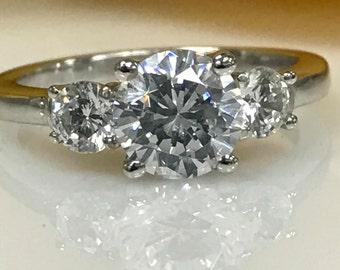 3.00 ctw Round Three Stone Engagement Ring 14K White Gold #4440