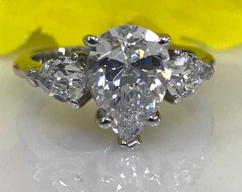 Moissanite Forever One 3ctw. Pear Shape Engagement/Wedding/Promise Ring with Pear side stones in 14K White Gold #5003