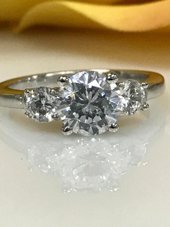 3 00 ctw Round Three Stone Engagement Ring 14K White Gold